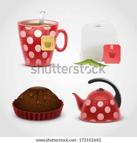 tea vector icon set - stock vector