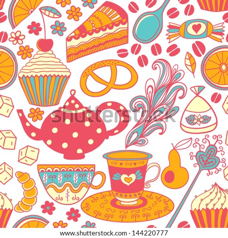 Tea vector seamless doodle teatime backdrop.Cakes to celebrate any event or occasion, use it as pattern fills, web page background, surface textures, fabric or paper, backdrop design. Summer template. - stock vector