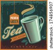 Tea vintage poster design - stock vector