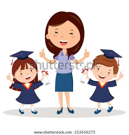 Teacher and graduation kids - stock vector