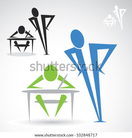 Teacher and student icon - vector illustration - stock vector