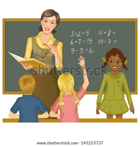 Teacher at blackboard explains children mathematics - stock vector
