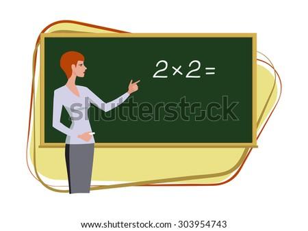 Teacher at blackboard explains children mathematics. Vector image - stock vector