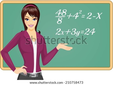 Teacher at blackboard explains mathematics - stock vector