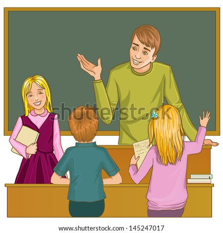 Teacher at blackboard in classroom with children - stock vector