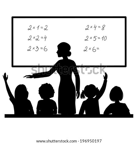 Teacher at blackboard in the classroom with children - stock vector