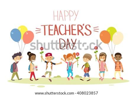 Teacher Day School Children Group Hold Flowers Balloons Holiday Greeting Flat Vector Illustration - stock vector