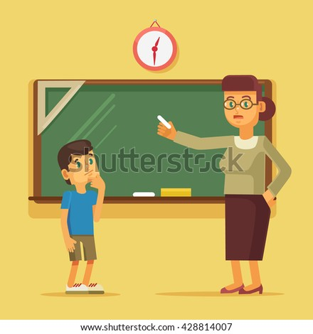 Teacher explains task student boy. Vector flat cartoon illustration - stock vector