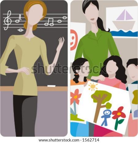 Teacher illustrations series. 1) Music teacher teaching a lesson in a classroom. 2) Art teacher and her class in a classroom. - stock vector