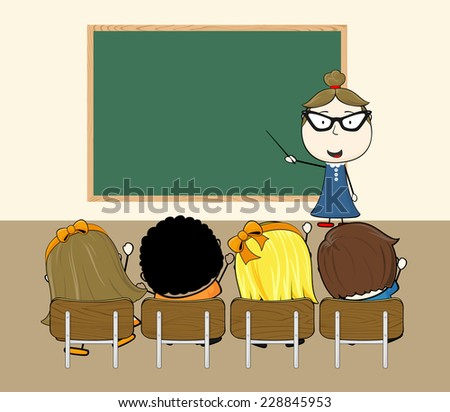 teacher in classroom with little childs and blank chalkboard for copy space - stock vector