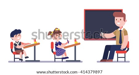 Teacher or tutor studying with group of kids sitting at school desks. Modern flat vector illustration. Cartoon character clipart. - stock vector