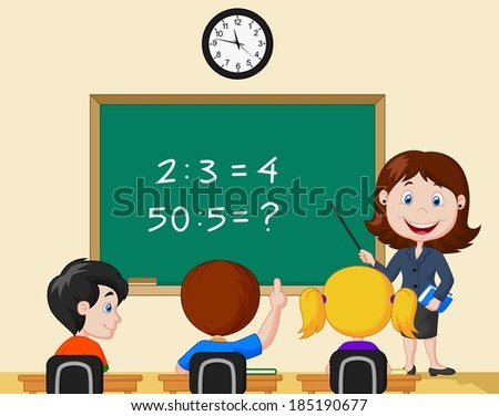 Teacher pointing at blackboard and looking at schoolkids in classroom - stock vector