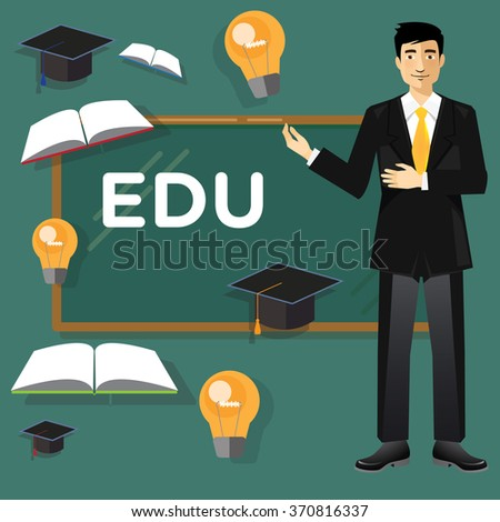 teacher presenting about education - stock vector