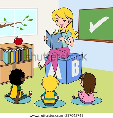 Teacher reading to children in the classroom, vector illustration - stock vector