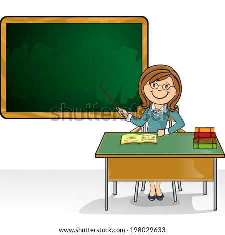 Teacher sitting in the classroom with desk and blackboard where you can insert your own text-no transparency blending-EPS-8. - stock vector