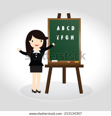 Teacher standing next to blackboard during a english class and pointing hand - stock vector