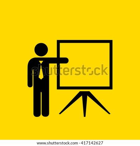 Teacher vector icon isolated on yellow background - stock vector