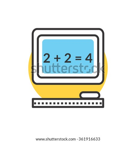 Teaching elementary mathematics with an interactive board. Text on blackboard icon. Interactive board. Mathematic task on chalkboard. Back to school concept. Simple mathematical equation - stock vector
