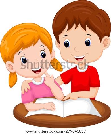 Teaching sister cartoon - stock vector