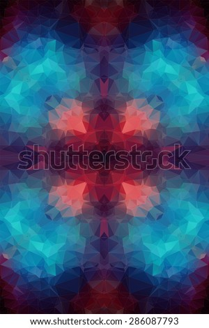 Teal orange polygonal background for your web design - stock vector