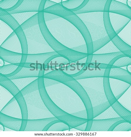 Teal seamless wired swirl fractal pattern background - stock vector