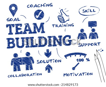 Team Building concept - chart with keywords and icons - stock vector