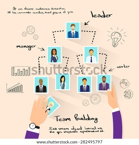 Team Building Concept Hands Photos Business Person Profile Vector Illustration - stock vector