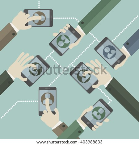 Team business concept. Hands with phones. business icon, mobile for business, businessman symbol, smart-phone, saving concept. Vector illustration - stock vector