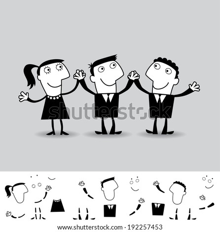 Team. Business illustration (EPS 8). Animation friendly: the elements (arms, heads etc) are in the separate layers. - stock vector