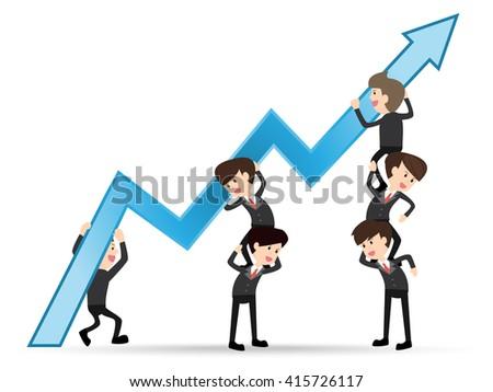 team businessman grow up graph arrow, concept teamwork - stock vector
