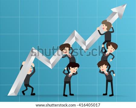 team businessman raise graph arrow, concept teamwork, grow up company - stock vector