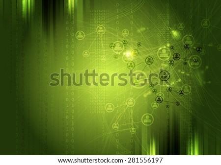 Team communication concept green background. Vector tech grunge design - stock vector