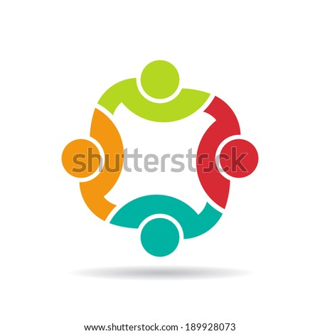 Team 4 congress.Concept group of connected people , happy friends, helping each other.Vector icon - stock vector