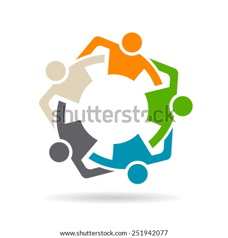 Team Friends Group of five people. Concept of group of people collaboration and great work. - stock vector