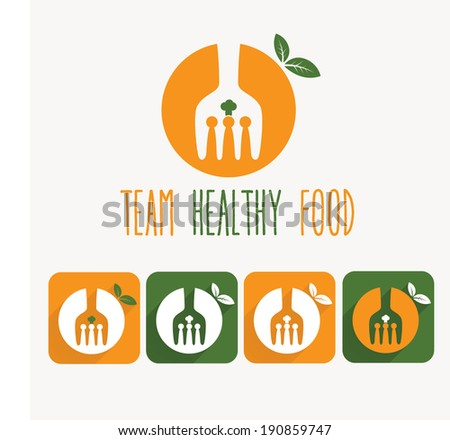 team healthy food illustration and web icons - stock vector