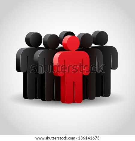 Team leader. Company boss. Teamwork. Concept 3D illustration - stock vector