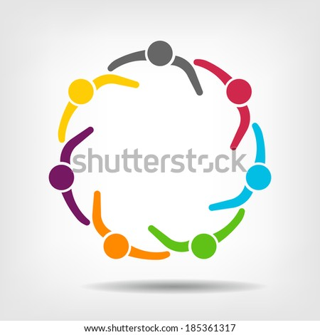 Team Meeting 7 Design Icon Vector. Group of People - stock vector