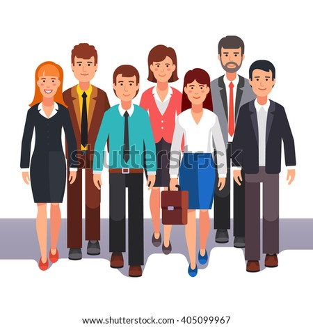 Team of business man and woman standing together. Entrepreneurs group teamwork. Flat style vector illustration. - stock vector
