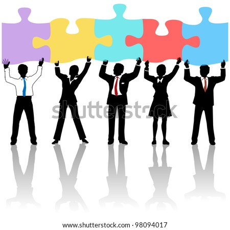 Team of business people collaborate holding up jigsaw puzzle pieces as a solution to a problem - stock vector
