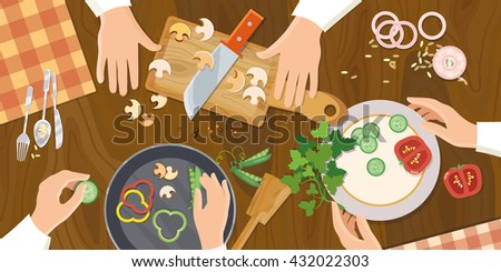 Team of chefs preparing food top view vector illustration - stock vector