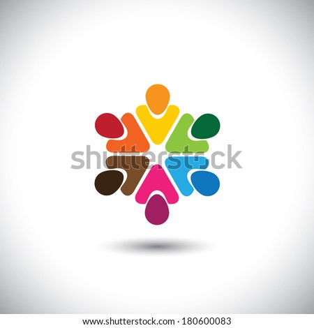 team of colorful people as circle - concept vector of teamwork. This graphic also represents internet community, team work and team building, social media, employees meetings, office staff, etc - stock vector