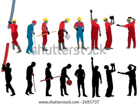 Team of Construction workers Vector silhouette - stock vector