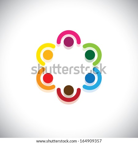 team of employees meeting in circle - teamwork concept vector. This abstract graphic represents diversity & unity, sharing & support, community union, kids & children in school, etc - stock vector