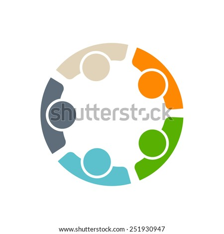 Team of five people. Concept of group of people meeting collaboration and great work. - stock vector