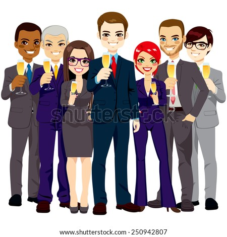 Team of seven successful and confident business men and women standing smiling with champagne glass toasting - stock vector
