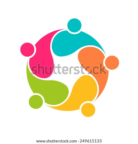 Team People logo 5 community circle interlaced.Concept group of connected people - stock vector