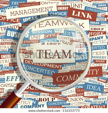 TEAM. Seamless word collage. Vector illustration. - stock vector