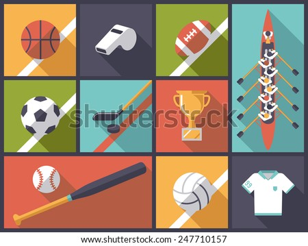 Team Sports Flat Design Vector Illustration. Illustration with various team sports equipment icons - stock vector
