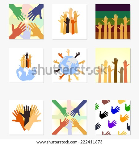 Team symbol. Multicolored hands.set - stock vector