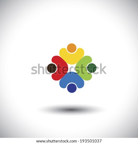 Team work and team spirit - concept vector graphic. This colorful illustration also represents people diversity & unity, workers union, children playing, kids together, friendship, integrity, oneness - stock vector